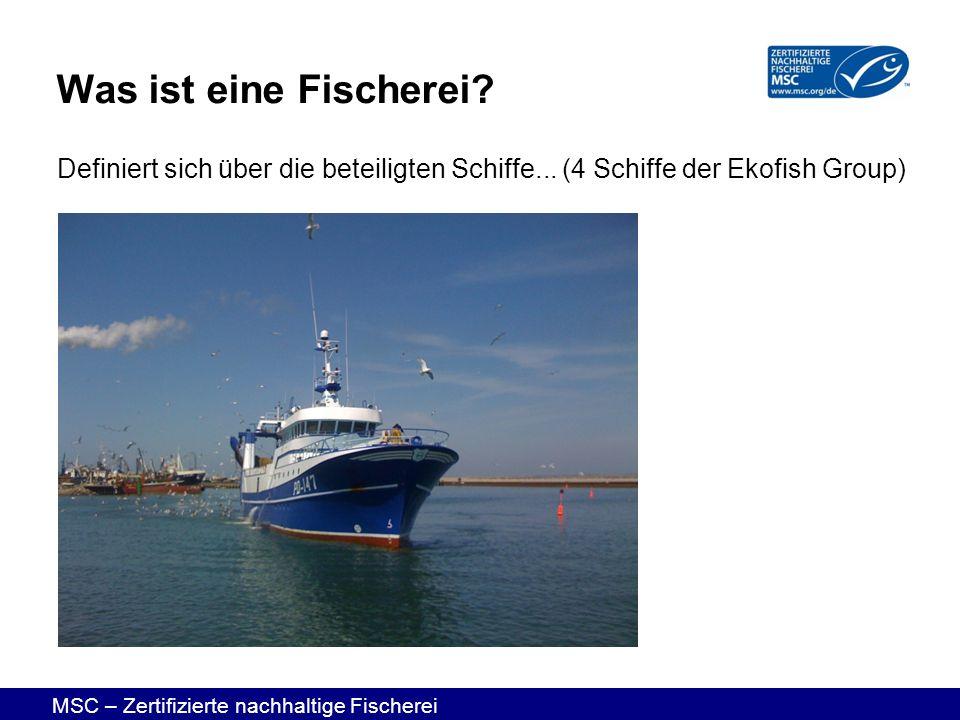 MSC – Zertifizierte nachhaltige Fischerei Definiert sich über die beteiligten Schiffe... (4 Schiffe der Ekofish Group) Was ist eine Fischerei?