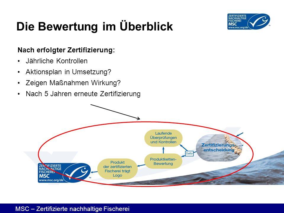 MSC – Zertifizierte nachhaltige Fischerei Nach erfolgter Zertifizierung: Jährliche Kontrollen Aktionsplan in Umsetzung? Zeigen Maßnahmen Wirkung? Nach