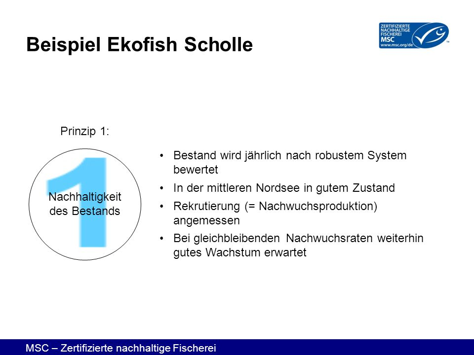 MSC – Zertifizierte nachhaltige Fischerei Beispiel Ekofish Scholle Bestand wird jährlich nach robustem System bewertet In der mittleren Nordsee in gut