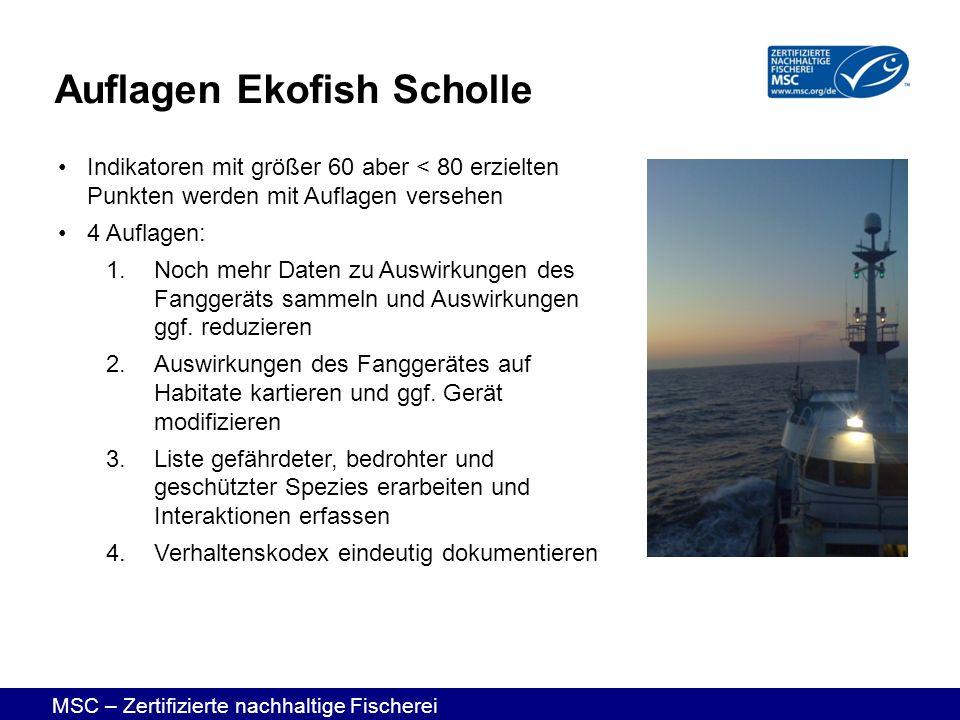 MSC – Zertifizierte nachhaltige Fischerei Auflagen Ekofish Scholle Indikatoren mit größer 60 aber < 80 erzielten Punkten werden mit Auflagen versehen