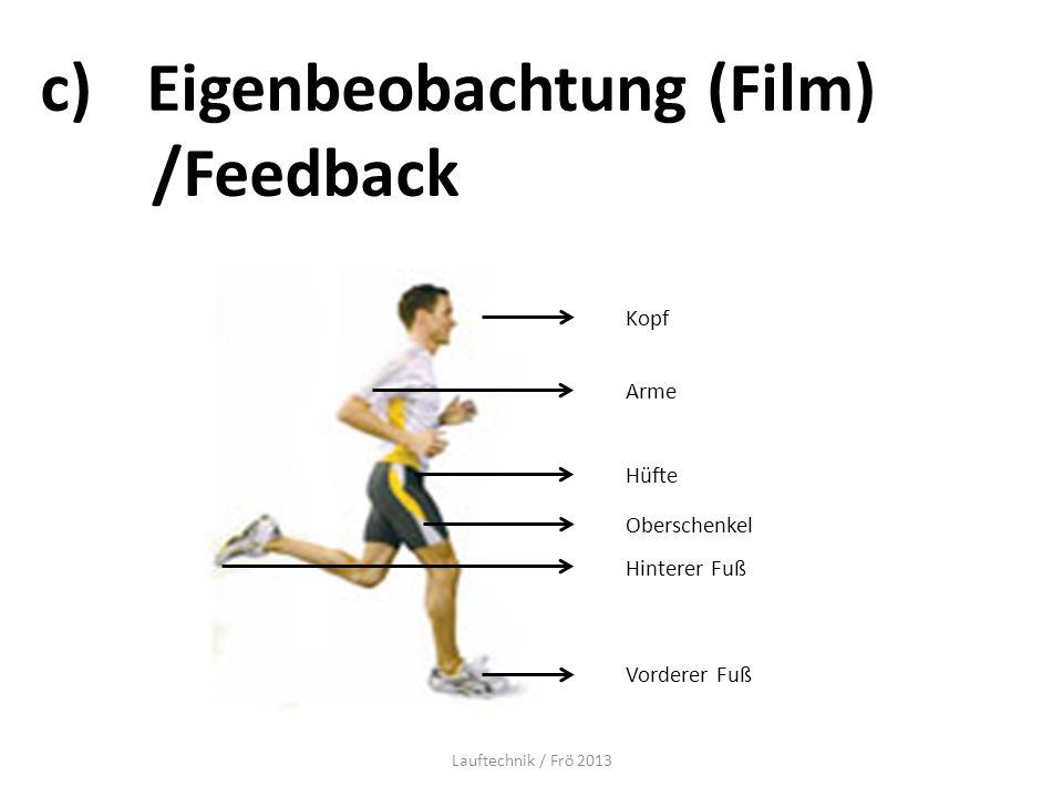 c)Eigenbeobachtung (Film) /Feedback Kopf Arme Hüfte Oberschenkel Hinterer Fuß Vorderer Fuß Lauftechnik / Frö 2013