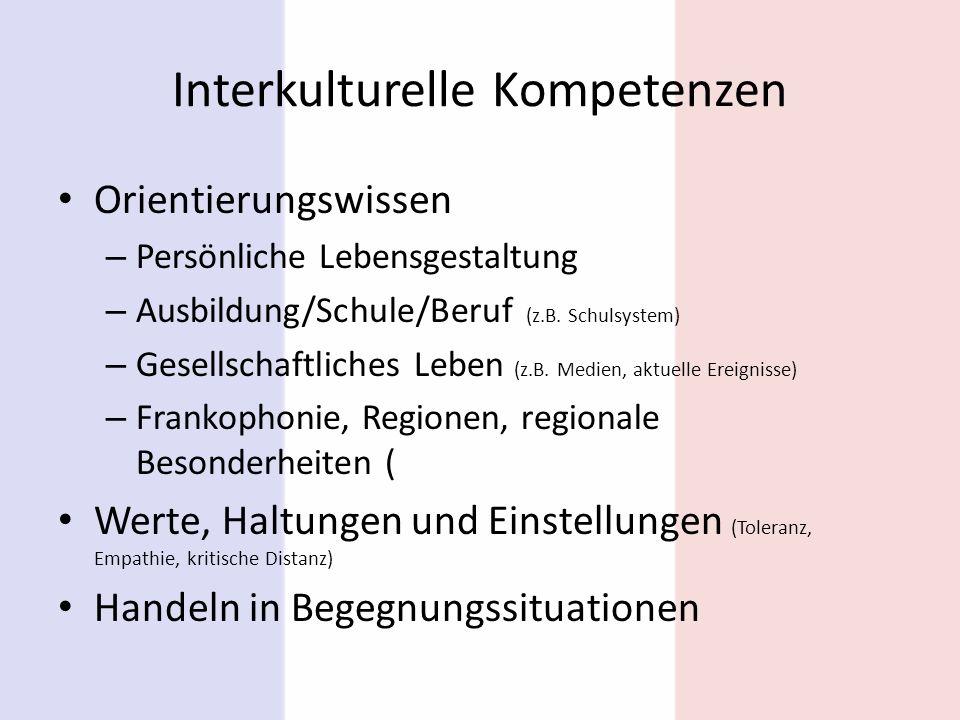Interkulturelle Kompetenzen Orientierungswissen – Persönliche Lebensgestaltung – Ausbildung/Schule/Beruf (z.B. Schulsystem) – Gesellschaftliches Leben