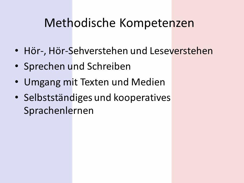 Methodische Kompetenzen Hör-, Hör-Sehverstehen und Leseverstehen Sprechen und Schreiben Umgang mit Texten und Medien Selbstständiges und kooperatives