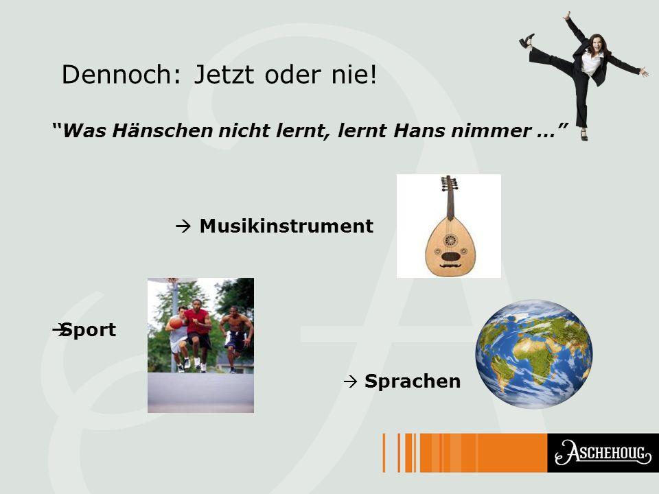 Dennoch: Jetzt oder nie! Was Hänschen nicht lernt, lernt Hans nimmer … Musikinstrument Sport Sprachen