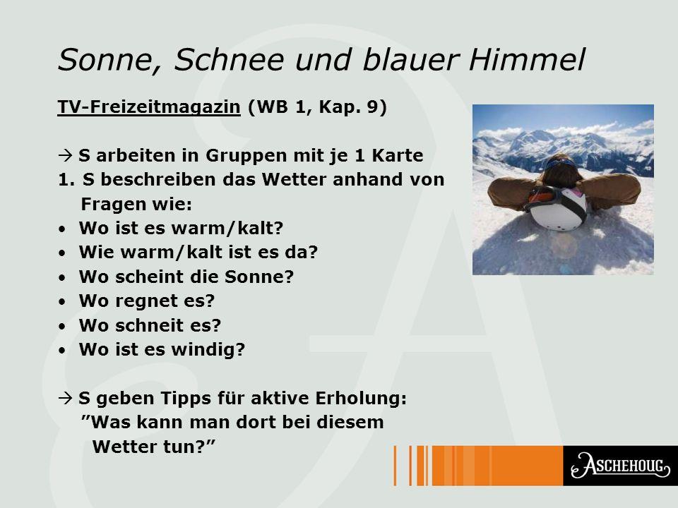 Sonne, Schnee und blauer Himmel TV-Freizeitmagazin (WB 1, Kap. 9) S arbeiten in Gruppen mit je 1 Karte 1.S beschreiben das Wetter anhand von Fragen wi