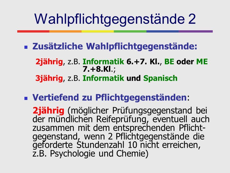 Wahlpflichtgegenstände 2 Zusätzliche Wahlpflichtgegenstände: 2jährig, z.B. Informatik 6.+7. Kl., BE oder ME 7.+8.Kl.; 3jährig, z.B. Informatik und Spa