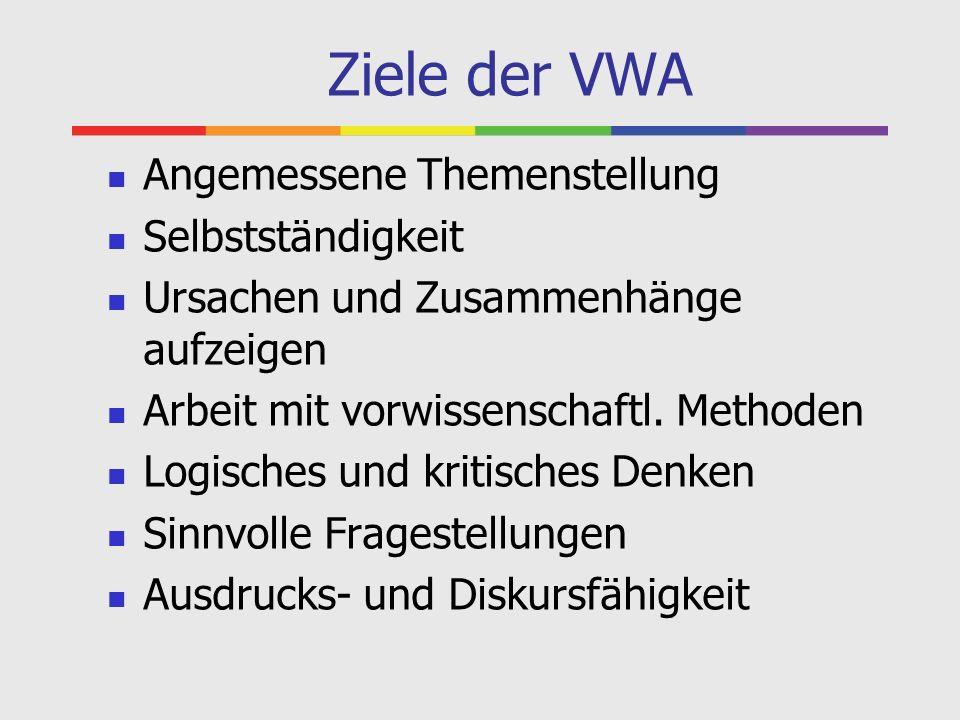 Ziele der VWA Angemessene Themenstellung Selbstständigkeit Ursachen und Zusammenhänge aufzeigen Arbeit mit vorwissenschaftl. Methoden Logisches und kr