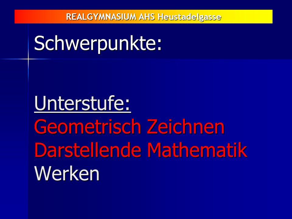 REALGYMNASIUM AHS Heustadelgasse Unterstufe: Geometrisch Zeichnen Darstellende Mathematik Werken Schwerpunkte: