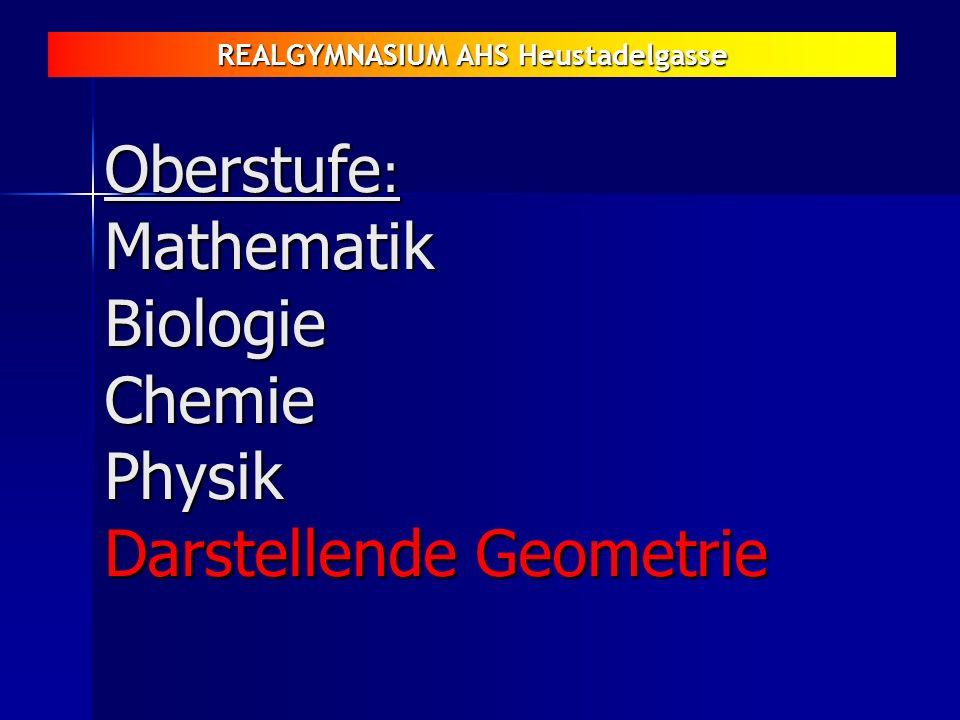 REALGYMNASIUM AHS Heustadelgasse Oberstufe : Mathematik Biologie Chemie Physik Darstellende Geometrie