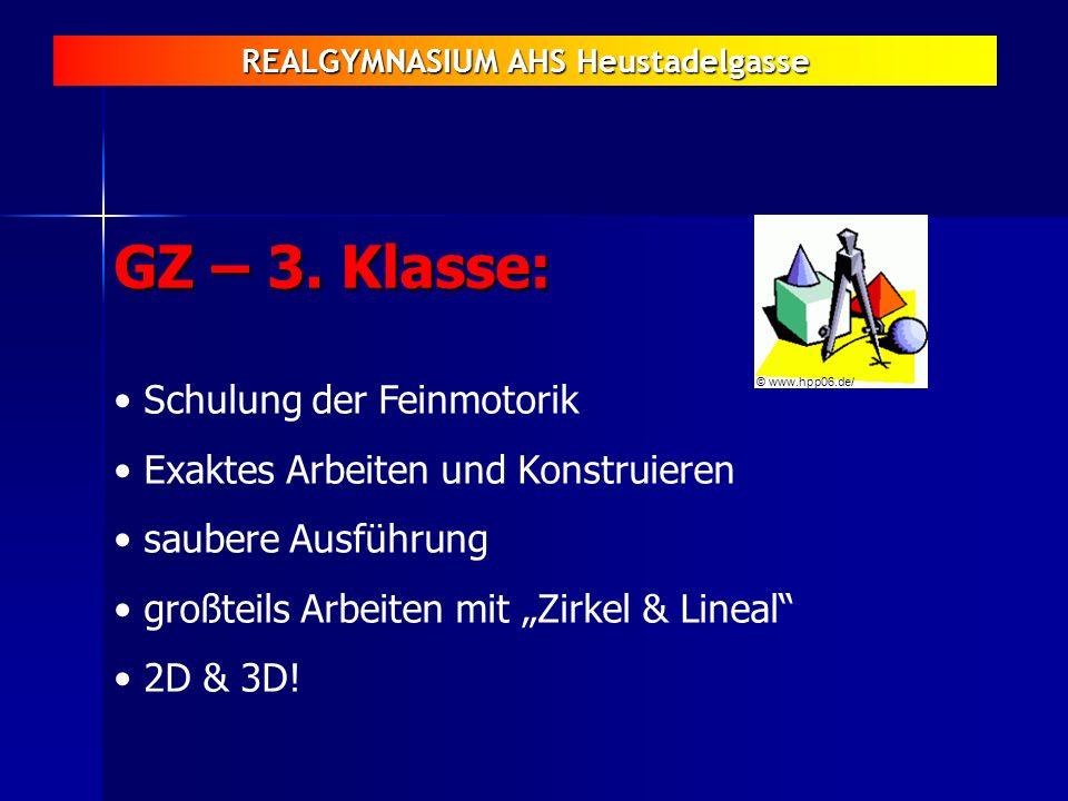 REALGYMNASIUM AHS Heustadelgasse GZ – 3. Klasse: Schulung der Feinmotorik Exaktes Arbeiten und Konstruieren saubere Ausführung großteils Arbeiten mit