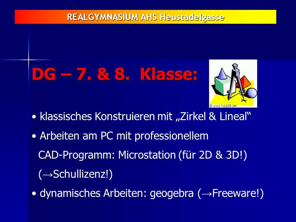 REALGYMNASIUM AHS Heustadelgasse DG – 7. & 8. Klasse: klassisches Konstruieren mit Zirkel & Lineal Arbeiten am PC mit professionellem CAD-Programm: Mi