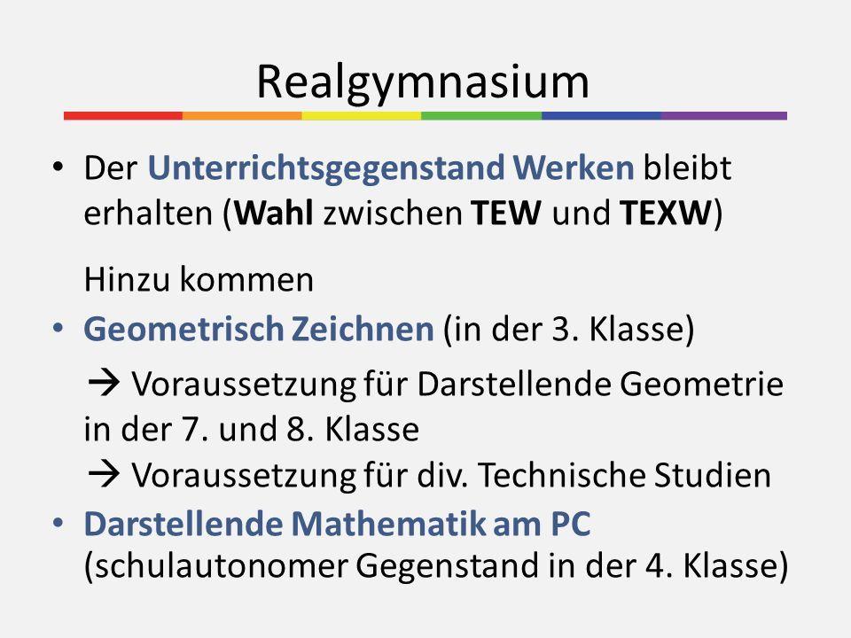 Realgymnasium Der Unterrichtsgegenstand Werken bleibt erhalten (Wahl zwischen TEW und TEXW) Hinzu kommen Geometrisch Zeichnen (in der 3. Klasse) Vorau