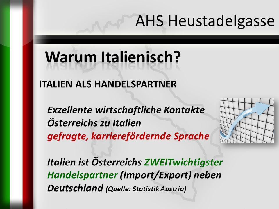 AHS Heustadelgasse ITALIEN ALS HANDELSPARTNER Exzellente wirtschaftliche Kontakte Österreichs zu Italien gefragte, karrierefördernde Sprache Italien i