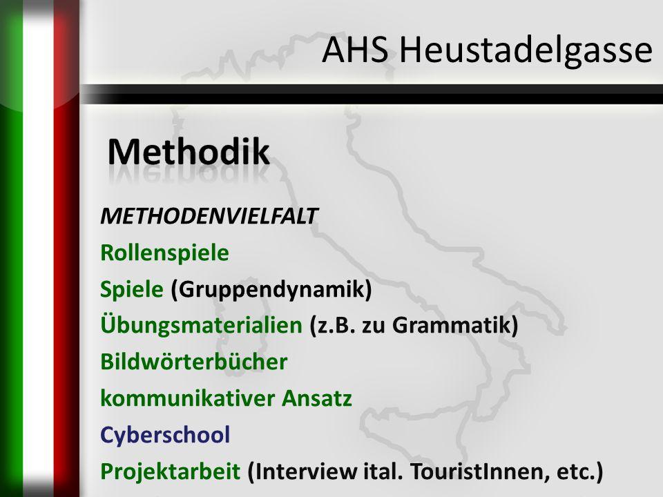 AHS Heustadelgasse METHODENVIELFALT Rollenspiele Spiele (Gruppendynamik) Übungsmaterialien (z.B. zu Grammatik) Bildwörterbücher kommunikativer Ansatz