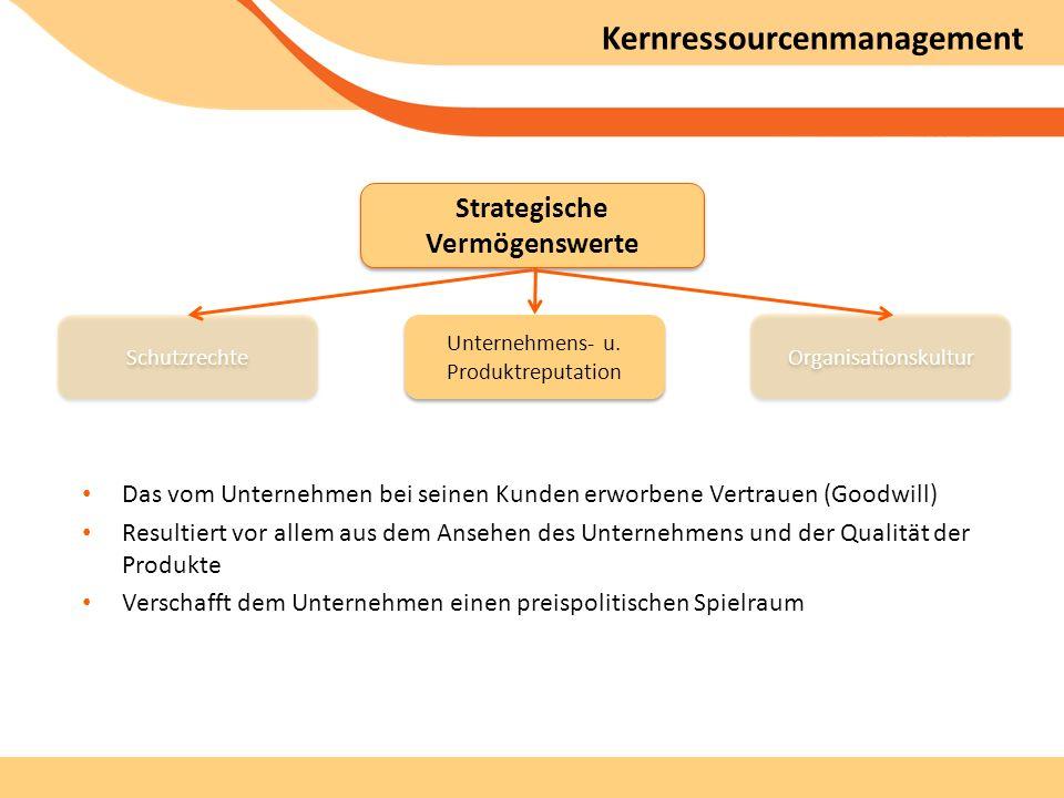Kernressourcenmanagement Das vom Unternehmen bei seinen Kunden erworbene Vertrauen (Goodwill) Resultiert vor allem aus dem Ansehen des Unternehmens und der Qualität der Produkte Verschafft dem Unternehmen einen preispolitischen Spielraum Strategische Vermögenswerte Unternehmens- u.