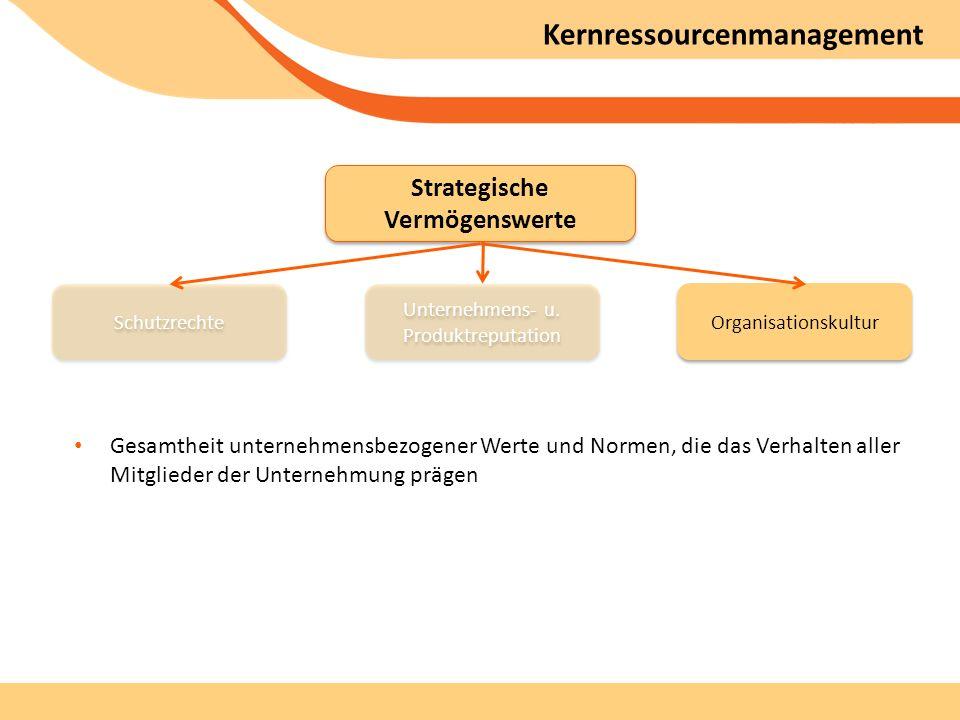 Kernressourcenmanagement Gesamtheit unternehmensbezogener Werte und Normen, die das Verhalten aller Mitglieder der Unternehmung prägen Strategische Vermögenswerte Unternehmens- u.