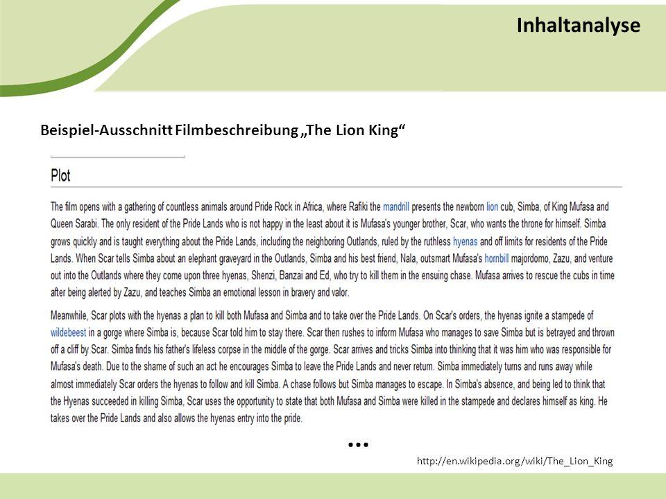 Inhaltanalyse Beispiel-Ausschnitt Filmbeschreibung The Lion King...