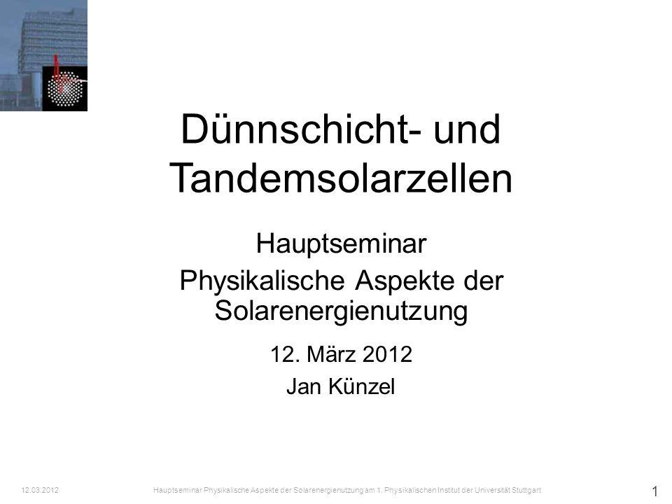 2 i.Motivation für Dünnschichtzellen ii.Direkte Halbleiter iii.Zellen aus amorphem Silizium iv.Zellen aus Cadmium-Tellurid v.CIS-Zellen / ternäre Chalkopyrite Kupfer-Indium-Diselenid vi.Zellen aus Gallium-Arsenid vii.Tandem-Solarzellen viii.Abschließende Übersicht Dünnschicht- und Tandemsolarzellen Inhalt: Hauptseminar Physikalische Aspekte der Solarenergienutzung am 1.