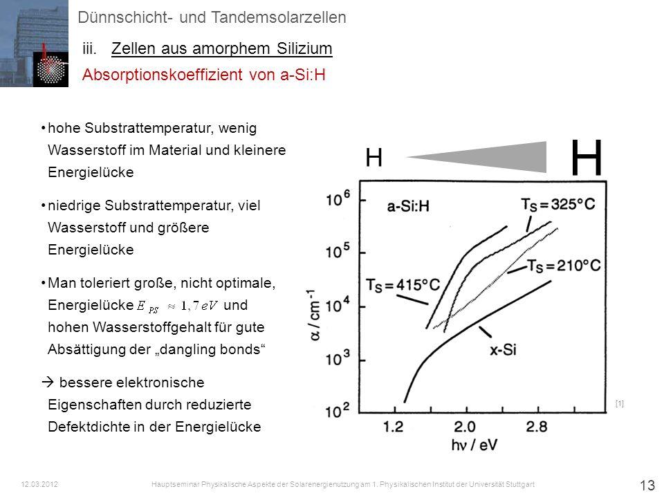 13 [1] Dünnschicht- und Tandemsolarzellen iii.Zellen aus amorphem Silizium Hauptseminar Physikalische Aspekte der Solarenergienutzung am 1. Physikalis