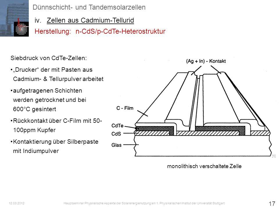 17 Siebdruck von CdTe-Zellen: Drucker der mit Pasten aus Cadmium- & Tellurpulver arbeitet aufgetragenen Schichten werden getrocknet und bei 600°C gesi