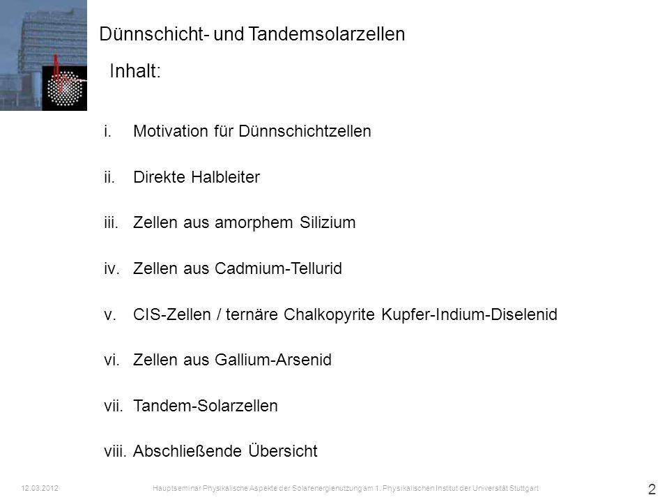 13 [1] Dünnschicht- und Tandemsolarzellen iii.Zellen aus amorphem Silizium Hauptseminar Physikalische Aspekte der Solarenergienutzung am 1.