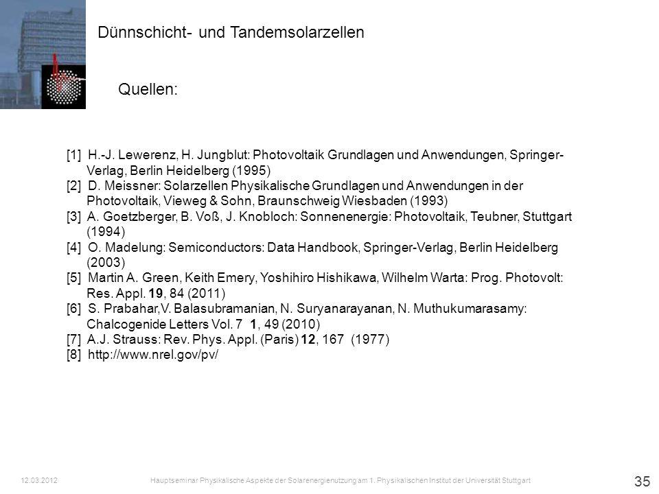 35 Dünnschicht- und Tandemsolarzellen Quellen: [1] H.-J. Lewerenz, H. Jungblut: Photovoltaik Grundlagen und Anwendungen, Springer- Verlag, Berlin Heid