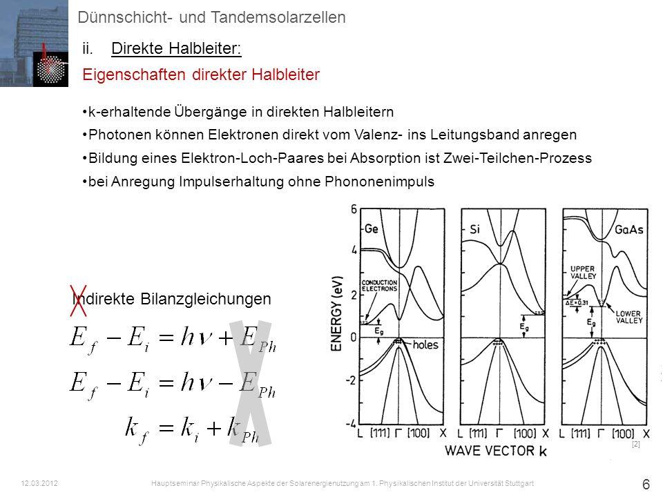7 Absorptionskoeffizienten bei direkten Halbleitern bei parabolischer Bandstruktur gilt für direkte Halbleiter mit A=10 4 cm -1 [2] [1] Dünnschicht- und Tandemsolarzellen ii.Direkte Halbleiter: Hauptseminar Physikalische Aspekte der Solarenergienutzung am 1.