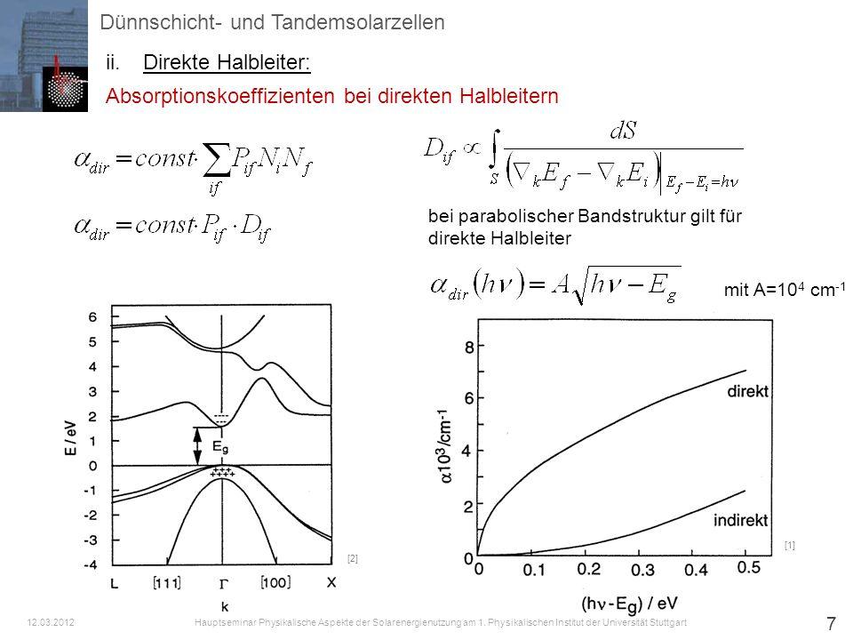 7 Absorptionskoeffizienten bei direkten Halbleitern bei parabolischer Bandstruktur gilt für direkte Halbleiter mit A=10 4 cm -1 [2] [1] Dünnschicht- u