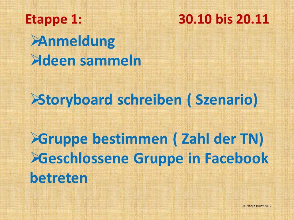 Anmeldung Ideen sammeln Storyboard schreiben ( Szenario) Gruppe bestimmen ( Zahl der TN) Geschlossene Gruppe in Facebook betreten Etappe 1: 30.10 bis