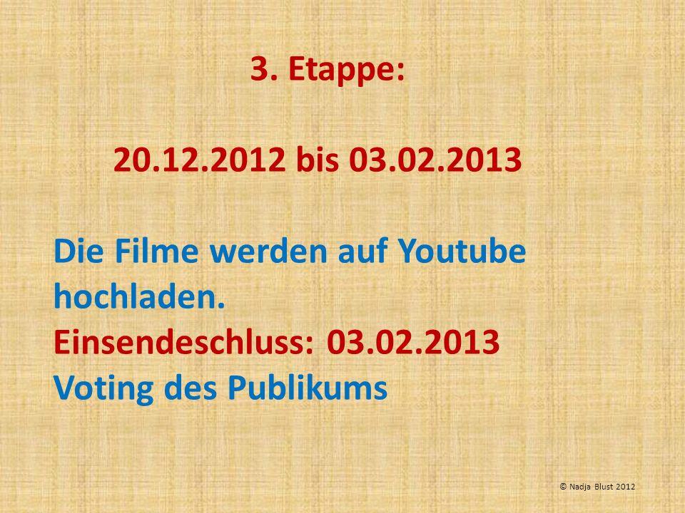 3. Etappe: 20.12.2012 bis 03.02.2013 Die Filme werden auf Youtube hochladen. Einsendeschluss: 03.02.2013 Voting des Publikums © Nadja Blust 2012