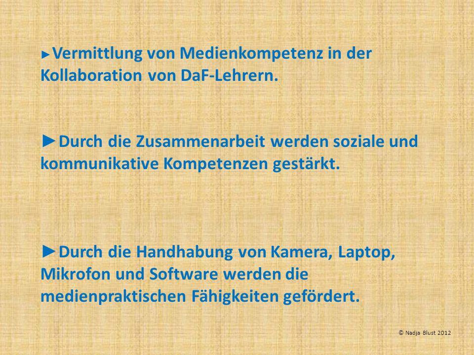 Vermittlung von Medienkompetenz in der Kollaboration von DaF-Lehrern. Durch die Zusammenarbeit werden soziale und kommunikative Kompetenzen gestärkt.
