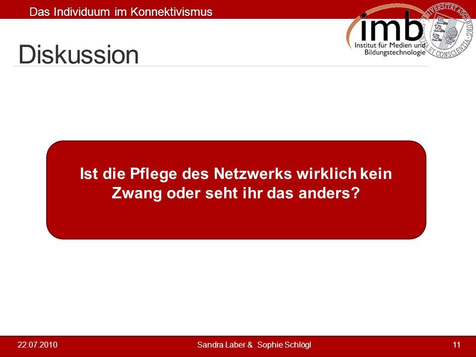 Das Individuum im Konnektivismus 2 4 2 3 4 5 Diskussion 22.07.2010Sandra Laber & Sophie Schlögl11 Ist die Pflege des Netzwerks wirklich kein Zwang ode