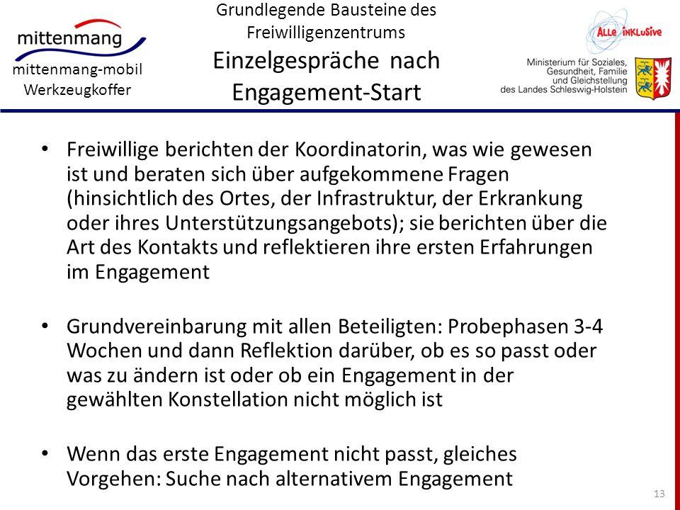 mittenmang-mobil Werkzeugkoffer Grundlegende Bausteine des Freiwilligenzentrums Einzelgespräche nach Engagement-Start Freiwillige berichten der Koordi