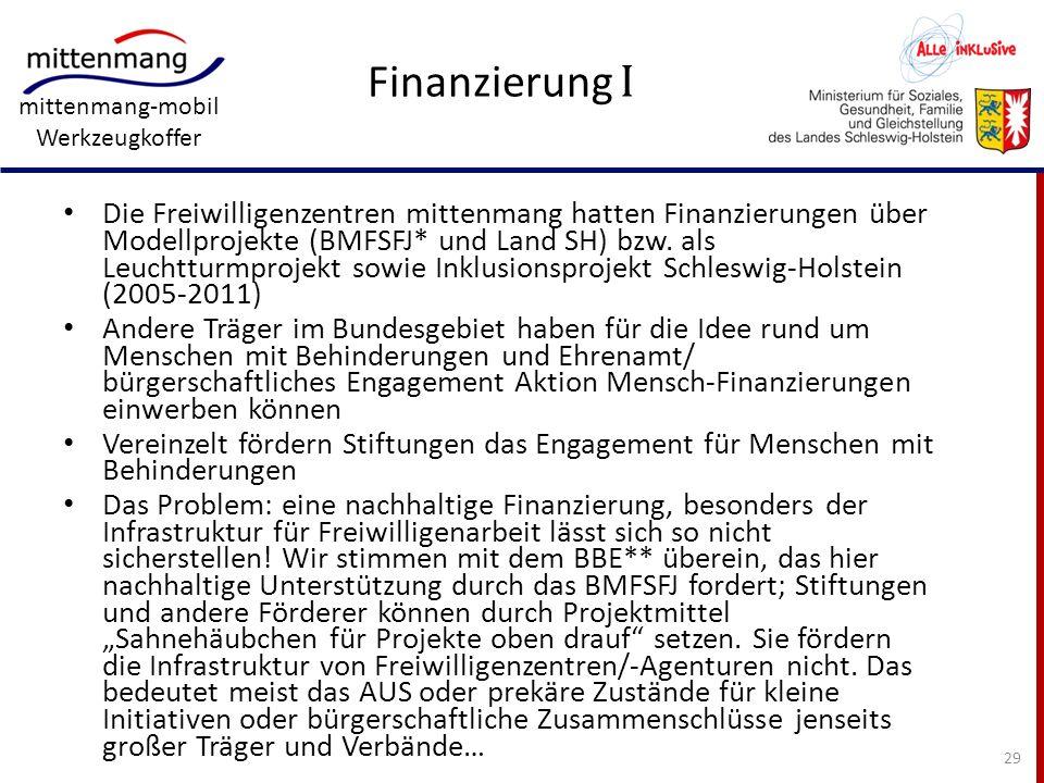 mittenmang-mobil Werkzeugkoffer Finanzierung I Die Freiwilligenzentren mittenmang hatten Finanzierungen über Modellprojekte (BMFSFJ* und Land SH) bzw.