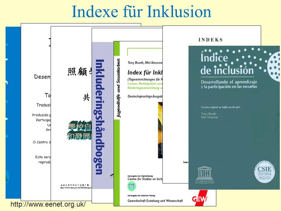 http://www.eenet.org.uk/ Indexe für Inklusion