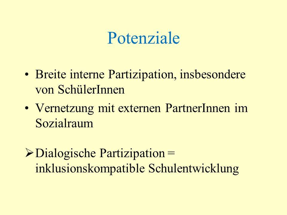 Potenziale Breite interne Partizipation, insbesondere von SchülerInnen Vernetzung mit externen PartnerInnen im Sozialraum Dialogische Partizipation =