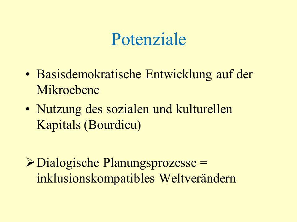 Potenziale Basisdemokratische Entwicklung auf der Mikroebene Nutzung des sozialen und kulturellen Kapitals (Bourdieu) Dialogische Planungsprozesse = i