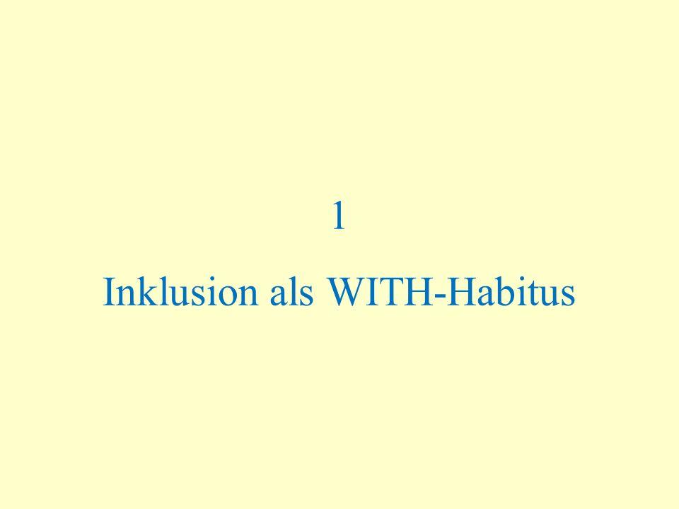 Inklusion als WITH-Habitus Dialektik von Gleichheit und Differenz Balance von Annäherung und Abgrenzung Individualität und Gemeinsamkeit Individuum und Gruppe Individualisierung und Kooperation