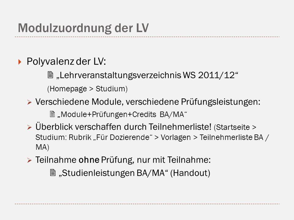 Modulzuordnung der LV Polyvalenz der LV: Lehrveranstaltungsverzeichnis WS 2011/12 (Homepage > Studium) Verschiedene Module, verschiedene Prüfungsleistungen: Module+Prüfungen+Credits BA/MA Überblick verschaffen durch Teilnehmerliste.