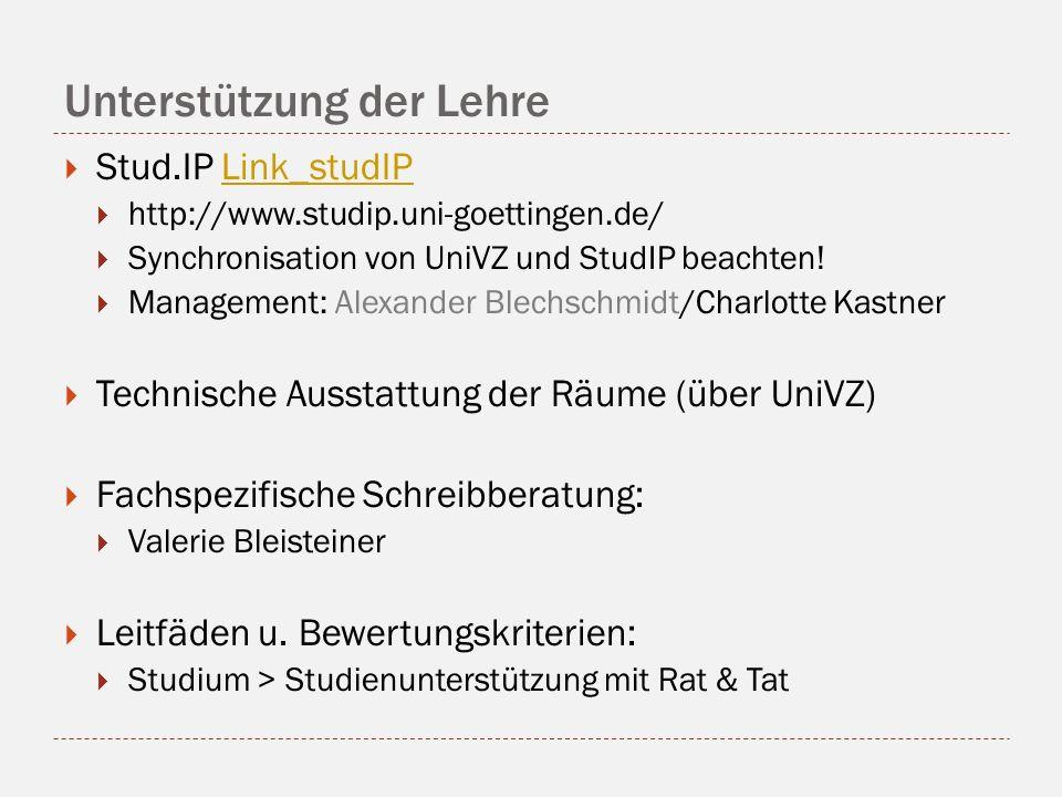 Unterstützung der Lehre Stud.IP Link_studIPLink_studIP http://www.studip.uni-goettingen.de/ Synchronisation von UniVZ und StudIP beachten.