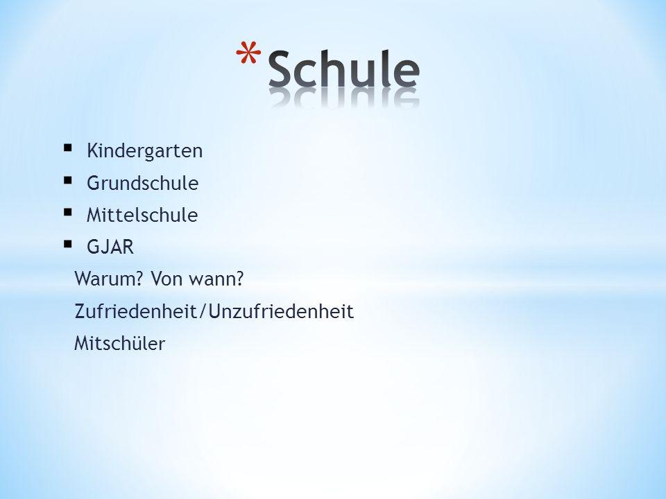 Kindergarten Grundschule Mittelschule GJAR Warum? Von wann? Zufriedenheit/Unzufriedenheit Mitsch üler