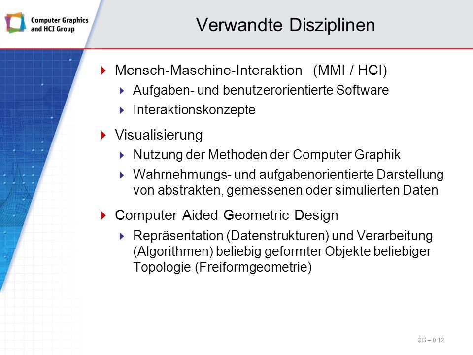 Verwandte Disziplinen Bildverarbeitung Verbesserung gegebener Bilder Erkennen von Mustern (pattern) in einem digitalen Bild (bitmap) Anwendung: Automatische Qualitätskontrolle, Sicherheitstechnik Computer Vision Verstehen von Bildern mit Hilfe des Rechners Wahrnehmungs- und Interpretationsprozess des Gehirns wird in Software ab- und nachgebildet Teilgebiet der KI Anwendung: Retrieval in Mediendatenbanken CG – 0.11