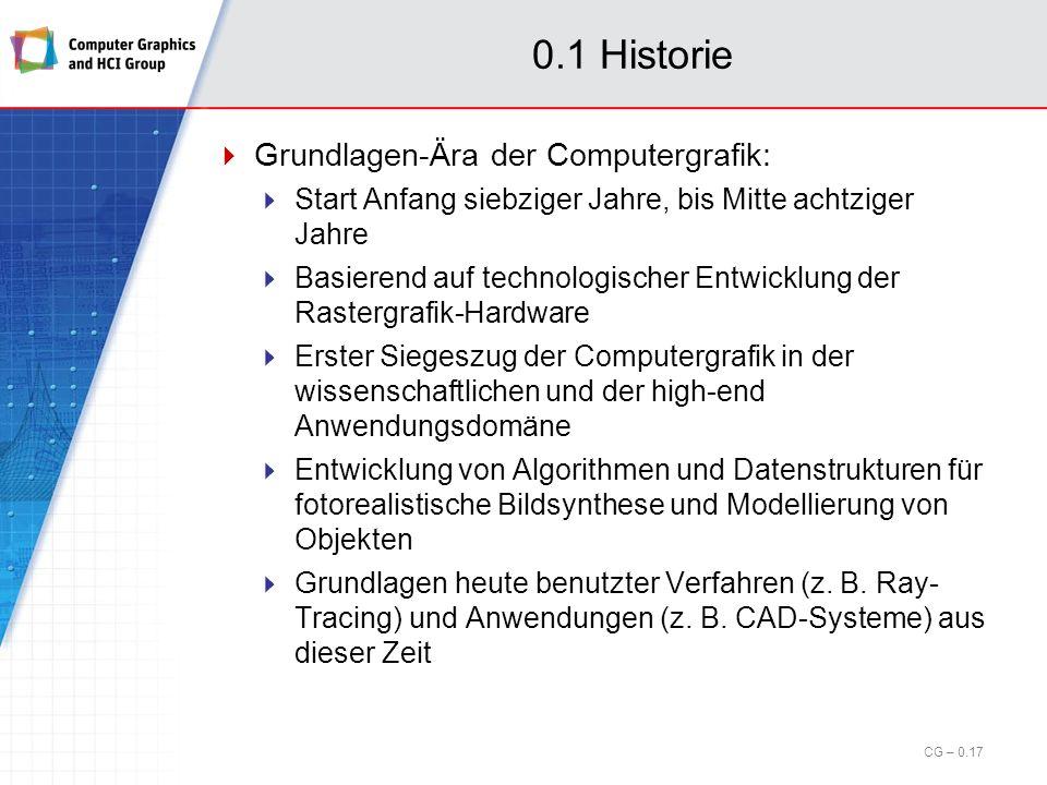 Computergrafik - Inhalt §0Historie, Überblick, Beispiele §1Begriffe und Grundlagen §2Objekttransformationen §3Objektrepräsentation und -Modellierung §4Sichttransformationen §5Kurven und Flächen §6Rendering und Visibilität §7Mapping-Techniken CG – 2.16