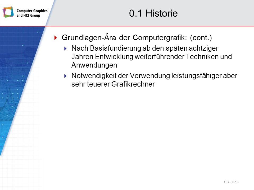 0.1 Historie Grundlagen-Ära der Computergrafik: Start Anfang siebziger Jahre, bis Mitte achtziger Jahre Basierend auf technologischer Entwicklung der