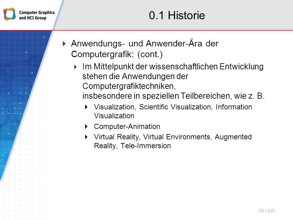 0.1 Historie Anwendungs- und Anwender-Ära der Computergrafik: (cont.) Low-level Software-Zugang: Moderne Software-Schichten kapseln in Form von APIs, wie z.