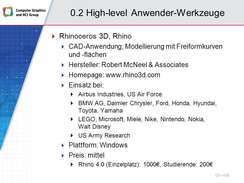 0.2 High-level Anwender-Werkzeuge 3ds Max (cont.) CG – 0.27 Bildquelle: http://www.btlnews.com