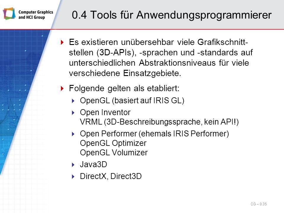 0.4 Tools für Anwendungsprogrammierer Begriffe: Immediate Mode: Direkter Modus, alle Aktionen werden direkt ausgeführt Low-level, d.h. keine bis schwa