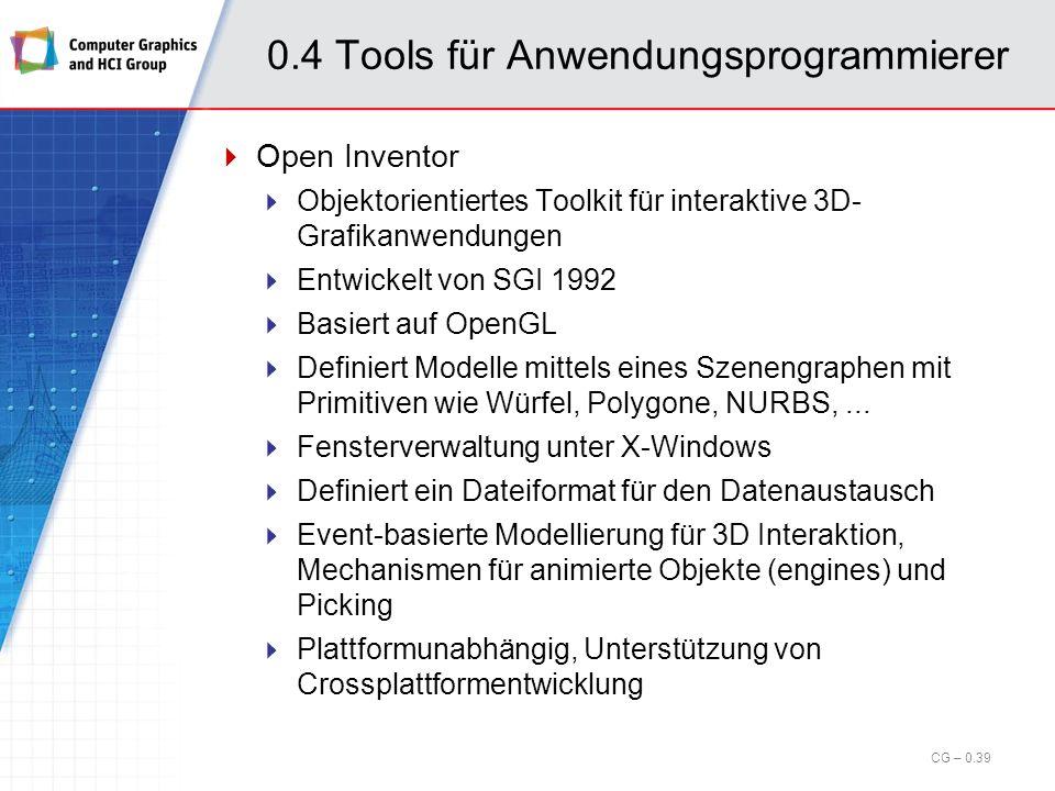 0.4 Tools für Anwendungsprogrammierer OpenGL (cont.) Nutzbar mit C, C++, C#, Fortran, Ada, Java Unter Windows, X-Windows und MacOS Einsatzbereiche: 3D Animation CAD Virtuelle Welten Simulationen...