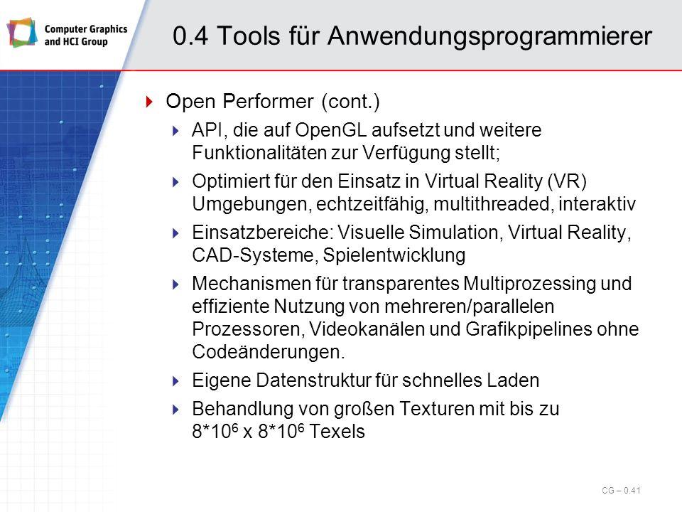 0.4 Tools für Anwendungsprogrammierer Open Inventor (cont.) Beispiel: Szenengraph CG – 0.40