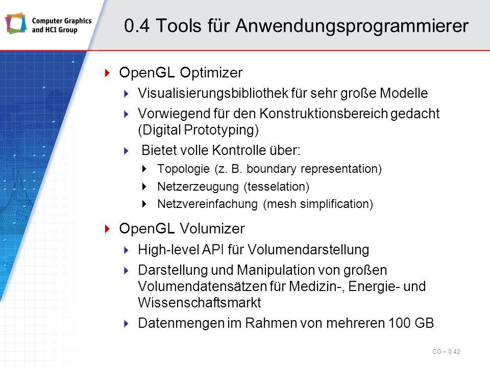 0.4 Tools für Anwendungsprogrammierer Open Performer (cont.) API, die auf OpenGL aufsetzt und weitere Funktionalitäten zur Verfügung stellt; Optimiert